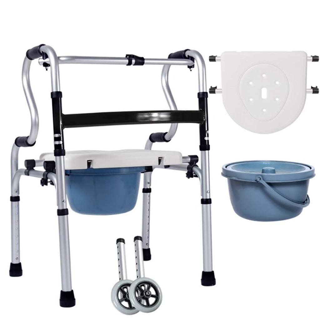 Folding Lightweight Aluminium Walking Frame with Wheels, Ergonomic Handle Walk Mobility Aid Adjustable Height Auxiliary Walking Safety Walker (Size : with casters)