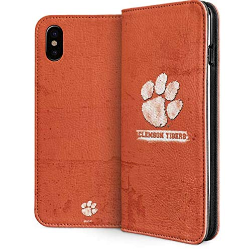 Skinit Clemson University iPhone Xs Max Folio Case - Officially Licensed Clemson University Phone Case - Vegan Faux-Leather Wallet iPhone Xs Max Cover