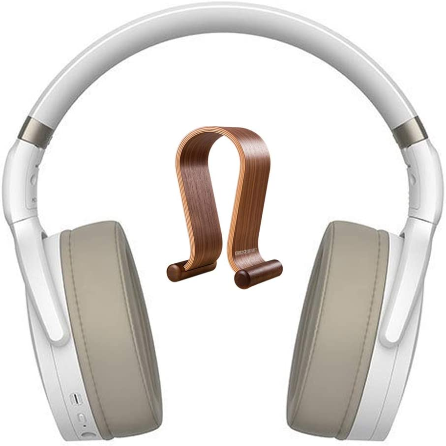 Sennheiser 508387 HD 450BT Wireless Around Ear Headphones with Bluetooth 5.0 White Bundle with Deco Gear Wood Headphone Display Stand Secure Tabletop Holder