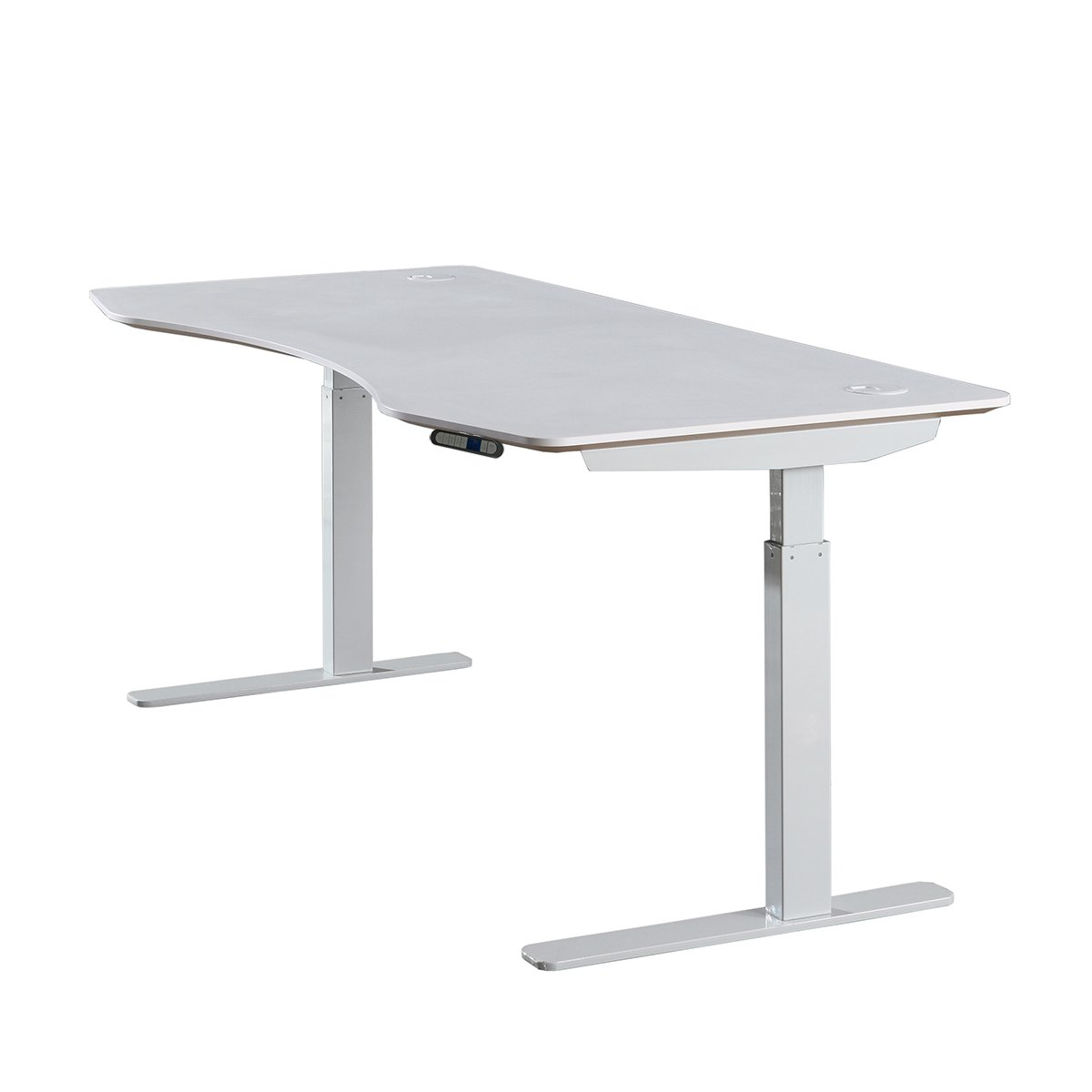 ApexDesk Elite Series 60'' W Electric Height Adjustable Standing Desk (Memory Controller, 60'' White Top, Off-White Frame)