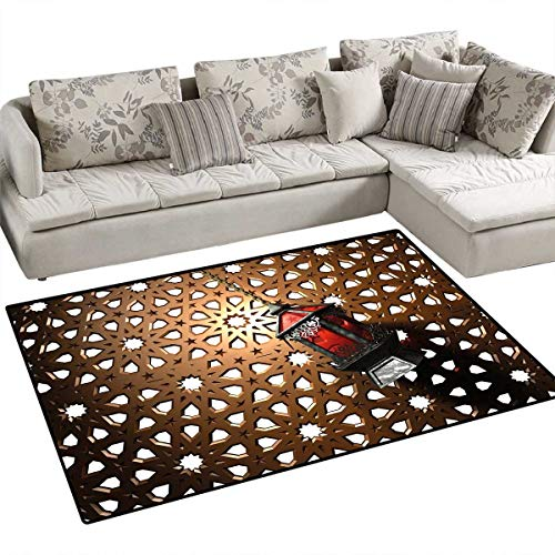 (Lantern Anti-Skid Rugs Egyptian Fanoos in a 3D Style Realistic Illustration Moroccan Backdrop Design Girls Rooms Kids Rooms Nursery Decor Mats 3'x5' Bronze Red)