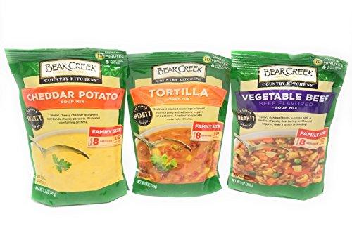 Bear Creek Country Kitchens Soup Mix 3 Flavor Variety Bundle: (1) Tortilla Soup Mix, (1) Cheddar Potato Soup Mix, and (1) Vegetable Beef Soup Mix, 9-12.1 Oz. (Soup Mix)