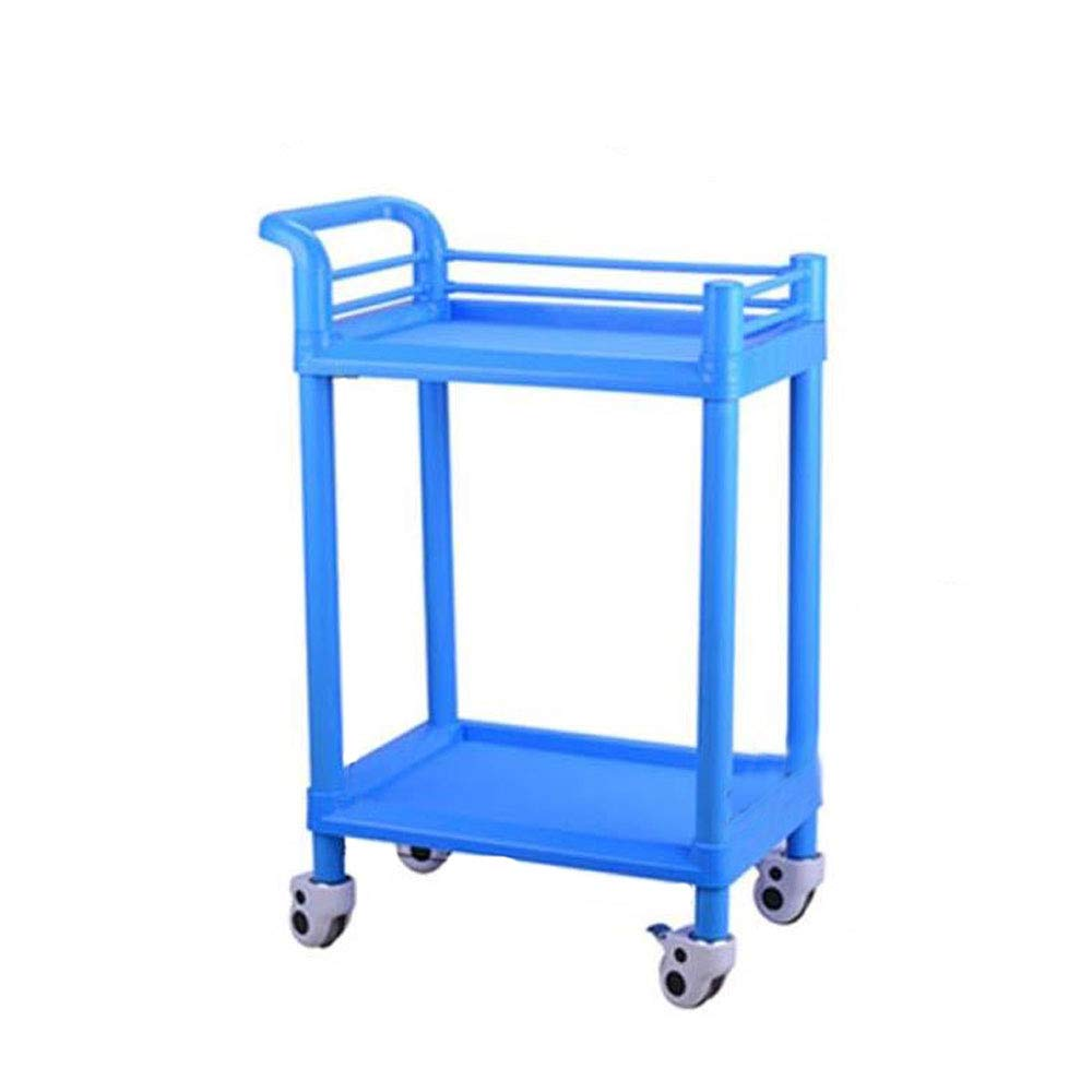 543790cm Shelf Shelving on Casters Trolley-Double Beauty Salon Cart Instrument Cart Hospital Nail Cart Tool Cart Mobile bluee Boutique (Size   54  37  90cm)