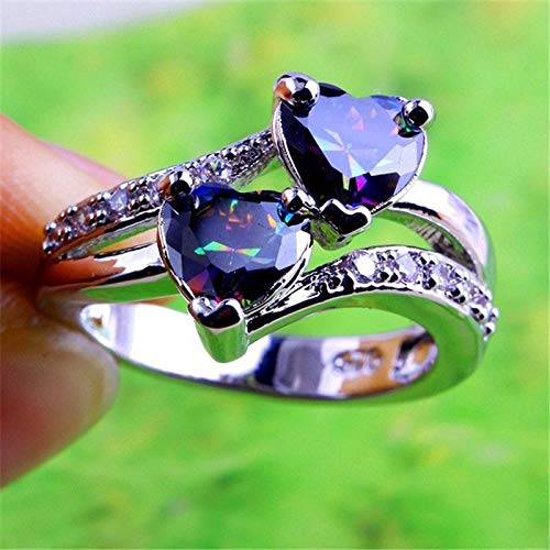 Wansan Silver Ring Double Heart Diamond Ring Accessory for Valentines Day Birthday Gift Party Girls