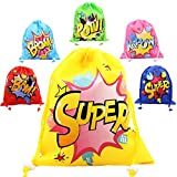Cheap CiyvoLyeen Superhero Drawstring Bags Party Favors Bags (12 Pack), Personalised Birthday Fabric Party Goodie Bag Gift for Kids Boys & Girls