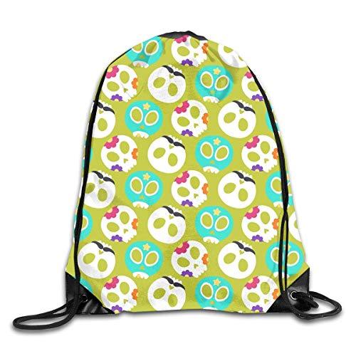 (DKFDS Backpacks Cute Skull Flowers Drawstring Backpack Bag Shoulder Bags Gym Bag for)