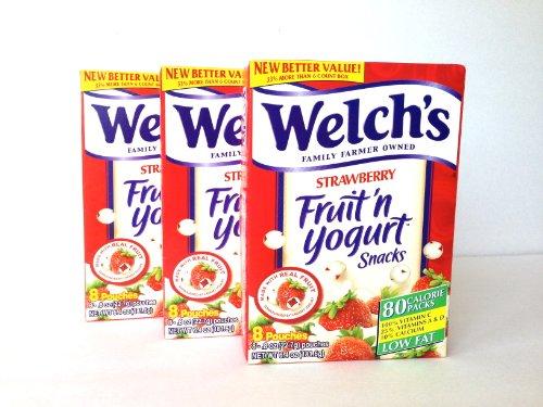 Welch's Fruit n Yogurt Snacks Strawberry 8 Pouches, (Pack of 3) (Fruit Yogurt)