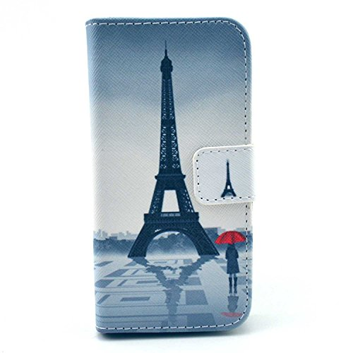 Galaxy S4 Mini Case,S4 Mini Case,Nancy's Shop (Latest Styles) Pattern Premium Pu Leather Wallet [Stand Feature] Type Magnet Design Flip Protective Credit Card Holder Pouch Skin Case Cover for Samsung Galaxy S4 Mini i9190 (built-in Credit Card/id Card Slot)- (NEW-umbrella with the girl and Eiffel Tower pattern)