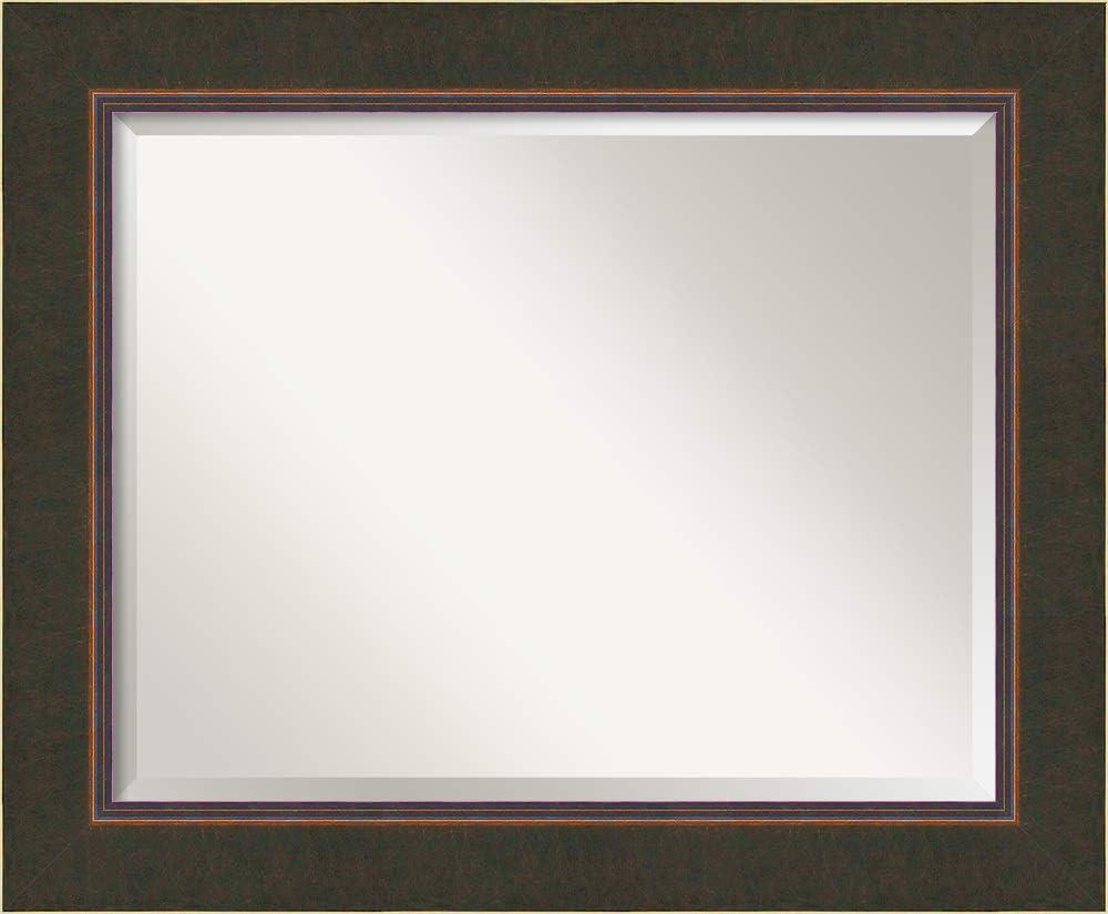 Amanti Art Framed Vanity Mirror   Bathroom Mirrors for Wall   Milano Bronze Mirror Frame   Solid Wood Mirror   Medium Mirror   28.38 x 34.38 in.