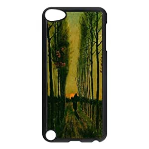 Van Gogh Series,Ipod Touch 5 Case,Van Gogh Art Lane of Poplars at Sunset 1884 Painting Phone Case For Ipod Touch 5[Black]