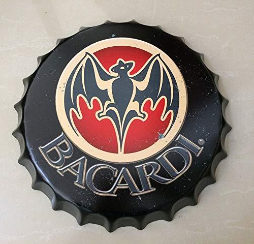 NEWNESS WORLD Placas Decoraci¨®ndel Hogar BACARDI Retro Bottle Cap Metal Tin Signs Beer Cap Decoration Plates Wall Art...