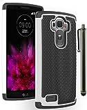 LG G4 Phone Case, Bastex Heavy Duty Hybrid Black Silicone Cover Hard White and Black Shock Armor Design Case for LG G4**INCLUDES STYLUS**