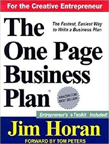 The One Page Business Plan Start With A Vision Build A Company