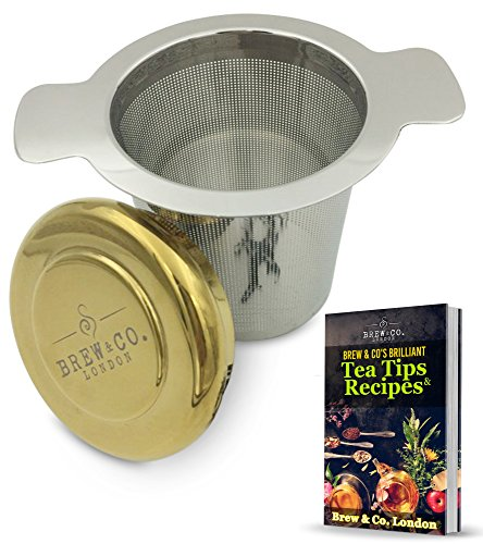 Brew & Co. London Unique Collectors' - Only 100 Produced - Titanium Gold Coated Drip Tray Coaster Lid Stainless Steel Tea Infuser, Extra Fine Mesh Single or Multi Cup Filter