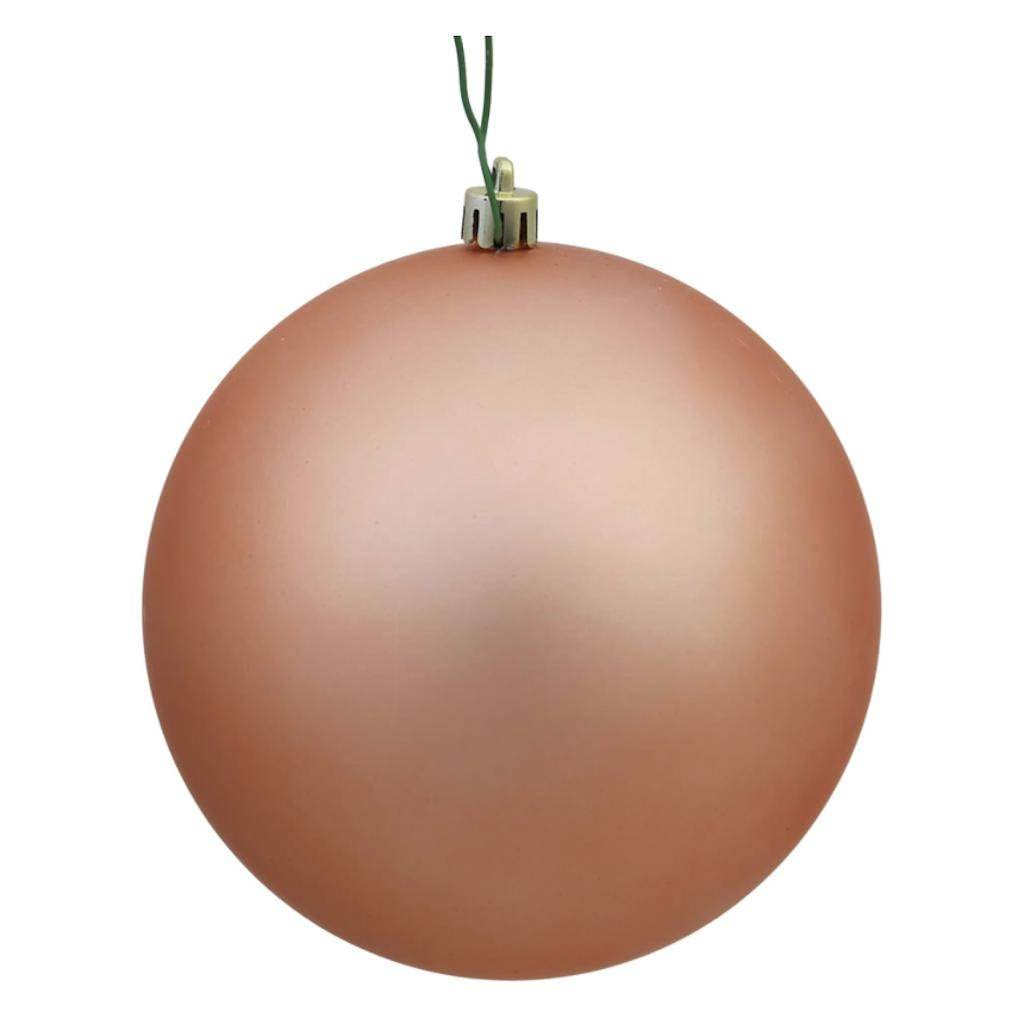 Vickerman N592558DMV Ball Ornament with Shatterproof UV Resistant, Pre-drilled cap Secured & 6'' of Green Floral Wire, 10'', Rose Gold