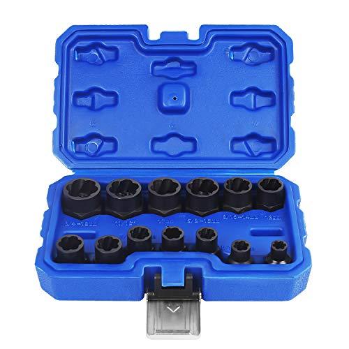 Eapele Impact Bolt Nut Removal Extractor Socket Tool Set (13pcs)