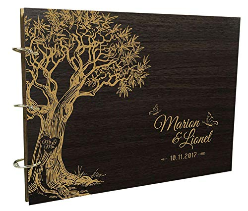 Rustic Wedding Wood Engraved Bride & Groom Guestbook Photo Album Custom Tree Scrapbook