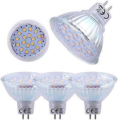 Liqoo® 4uds de 6W MR16 GU5, 3 GX5, 3 LED bombilla bulbo AC DC 12V, ángulo de haz 120 °, 2835 SMD, ahorro de energía blanco calido 3000 K, blanco ...