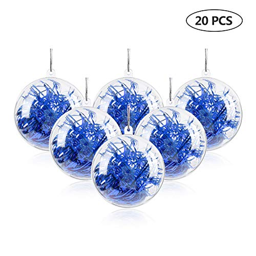 Green Joy Clear Fillable Christmas Ornament Balls - 20Pcs 80mm Plastic DIY Ornament Balls Decoration Baubles for New Years Present Holiday Wedding Home Decor (80mm)