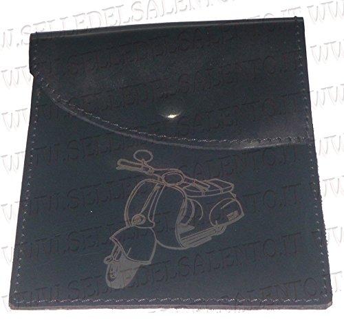 Selle del Salento - Porta documentos confeccionado en cuero genuino con grabado Vespa