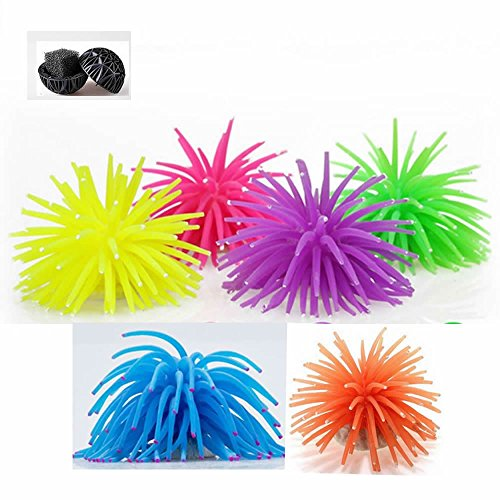 Springs Places Coral (GOOTRADES Pack of 6 Artificial Sea Anemone Coral Aquarium Fish Tank Ornament Plus Free Bio-balls)