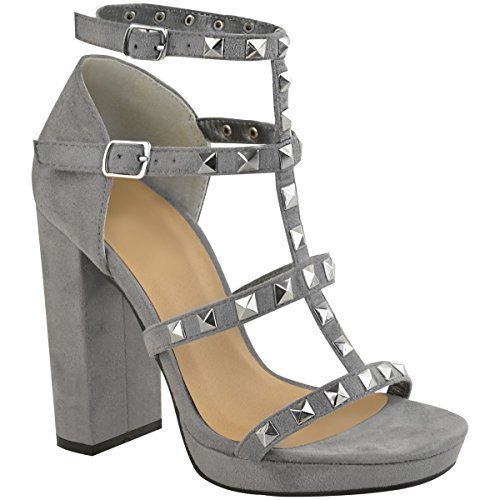 Fashion Thirsty Womens Ladies Stud Block High Heels Sandals Rose Gold Summer Strappy Shoes Size Grey Faux Suede