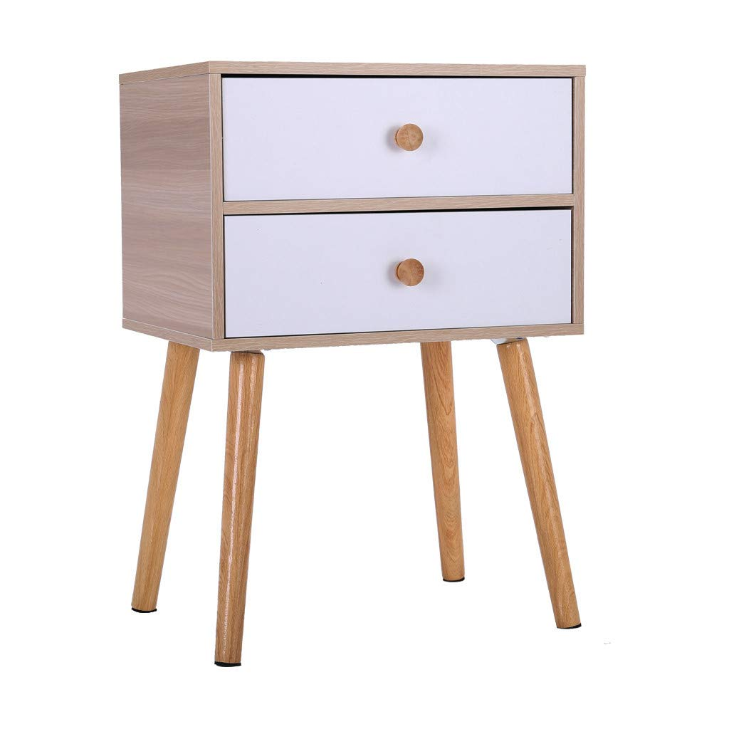 Small Nightstand,Jchen 【Ship from USA】 North American Modern Minimalist Bedside Cabinet Storage End Side Table Nightstand with Storage Drawer Solid Wood Legs Living Room Bedroom Furniture (White)