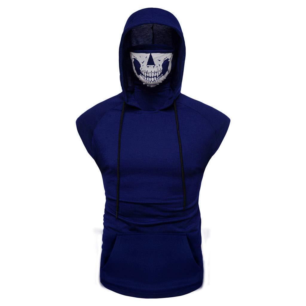 OrchidAmor 2019 Mens Skull Mask Button Sports Vest Hooded Splice Large Open-Forked Male Vest Dark Blue