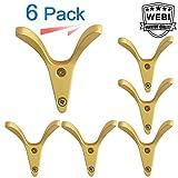 WEBI Wall Hook : Modern, Heavy-duty, Decorative, Double V-hook, Coat Hook, Towel Holder, Key Hanger, Metal Utility Hook for Bathroom Shower, Closet, Entryway, Kitchen, V-XSG-G-6 (Golden, 6 Packs)