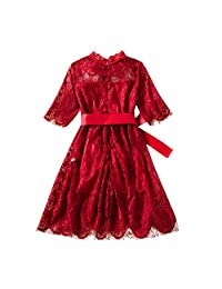 Vinjeely Toddler Baby Girls Lace Flower Princess Tulle Party Pageant Dresses