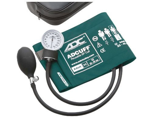 ADC Prosphyg 760 Pocket Aneroid Sphygmomanometer with Adcuff Nylon Blood Pressure Cuff, Adult, Teal