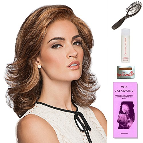 Socialite by Gabor, Wig Galaxy Hair Loss Booklet, 2oz Travel Size Wig Shampoo, Wig Cap, & Loop Brush (Bundle - 5 Items), Color Chosen: GL4/8 Dark Chocolate by Gabor & Wig Galaxy