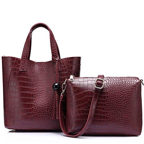 Bolsos de cuero Cross-bady monederos Mujer Vintage bolso de hombro con borla Vino rojo
