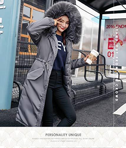 Abrigos Manga Basic Elegantes Espesar Gris Largos Outerwear Mujer Ropa Pluma Caliente Invierno Moderno Con Piel Parkas Chaqueta Larga De Capucha Anchas Casual Outdoor qr8qAOytw