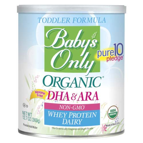 Baby's Only Organic Non-GMO Dairy Whey Protein with DHA & ARA Toddler Formula, 12.7 oz (Pack of 6)
