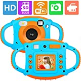 ifmeyasi WiFi Kids Camera, 1080P 8MP Digital Video Cameras for 3-8 Year Old Girls Boys Gift, Shockproof Mini Child Camcorder with 1.77 LCD Display, Mic, Flash Light(16GB Memory Card Included)
