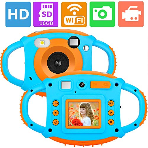 ifmeyasi WiFi Kids Camera, 1080P 8MP Digital Video Cameras for 3-8 Year Old Girls Boys Gift, Shockproof Mini Child Camcorder with 1.77 LCD Display, Mic, Flash Light(16GB Memory Card Included) by ifmeyasi (Image #7)