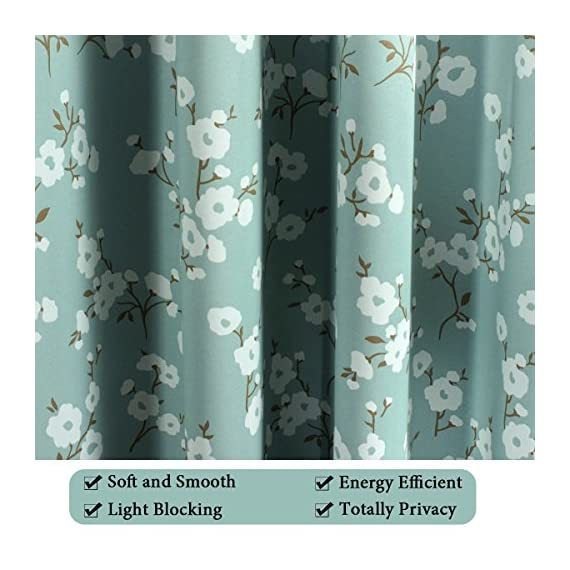 H.VERSAILTEX Ultra Soft Microfiber Living Room Curtain Noise Reducing Thermal Insulated Nickel Grommet Top Blackout Window Panel Drapes (Extra Long 1 Panel, 52 x 96 Inch, Traditional Aqua Floral) - HYPOALLERGENIC MATERIAL: Crafted from microfiber fabric, soft, silky and smooth, skin-friendly, formaldehyde vinyl free, add the peaceful environment, you will definitely enjoy sweet dreams NATURAL BLACKOUT: This magic lovely individually sold curtain panels is thick enough and constructed with interwoven thermal technology, no chemical coating, while still can block out 90% sun light and prevent 100% UV ray SMART FUNCTION: These charming decorative energy-saving window treatments are functional and fashionable, have high features on thermal insulated, room darkening, energy efficient, noise reducing and privacy adding - living-room-soft-furnishings, living-room, draperies-curtains-shades - 51EtpwcwtwL. SS570  -