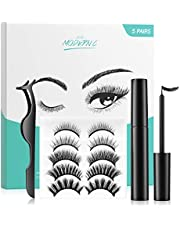 Magnetic Eyelashes and Eyeliner Kit 5 Pairs with Tweezers Reusable False Eyelashes Natural Look Ultra-thin Eye lashes sets magnetic No Glue Needed