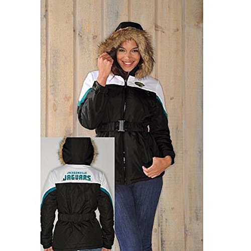 NFL Womens The Looker Jacket with Faux Fur Trim Hood - Jaguars- - Mall Fair Bay