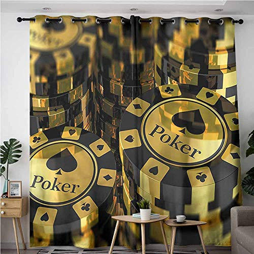 (XXANS Blackout Curtains,Poker Tournament,Gambling Club,Room Darkening, Noise Reducing,W108x108L )
