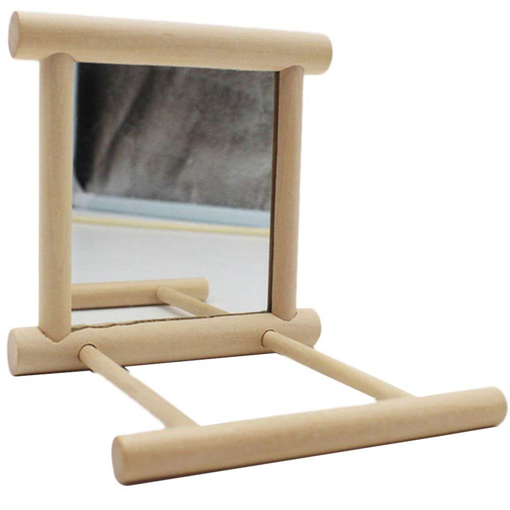 PanDaDa Bird Cage Stand with Mirror Bird Swing Toy Wooden Bird Perches Play Platform