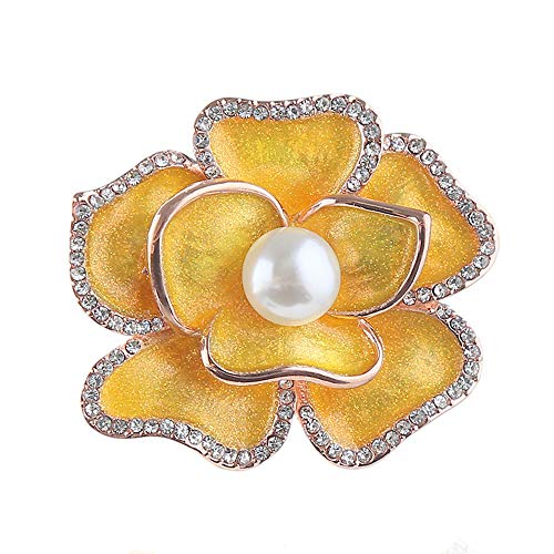 Dwcly Shining Enamel Peony Flower Brooch Pin White Pearl Broach Elgant Clothes Scarf Pin Jewelry (Yellow)