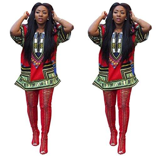 Mini Tonsee Dessus ImprimE Occasionnels Multicoloure Du Genou Rouge Robe Au Femme Robes Droite Robe Africain Print 7fB5w5