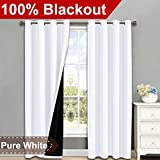 NICETOWN 100% Blackout Window Curtain Panels, Heat and Full Light Blocking Drapes with Black Liner for Nursery, 84 Inches Drop Thermal Insulated Draperies (White, 2 Pieces, 52″ Wide Each Panel) Review
