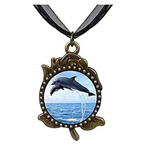 Chicforest Bronze Retro Style Two Cute Jump Dolphin Rose Flower Pendant