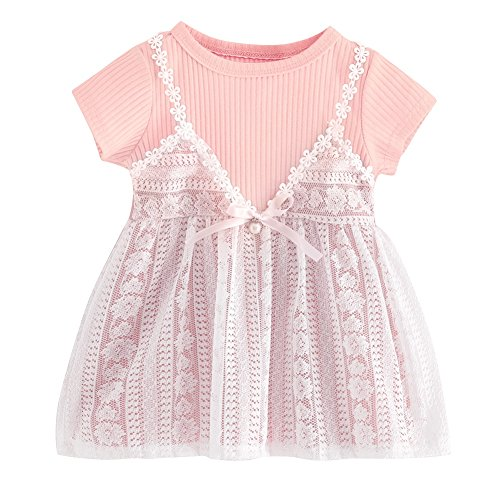 Solid Splice Sleeve Knitted Baby Bowtie Girl Pink With Lace Dresses Short PanDaDa Color Kid Casual Elegant Toddler Smocked Cute Comfortable Tutu Princess qwXyza