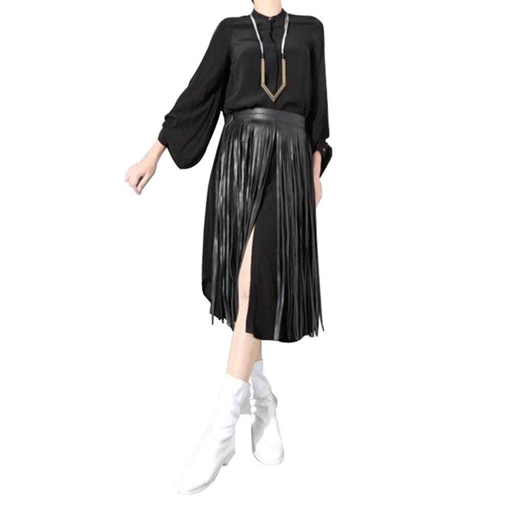 Women's Leather Fringe Dress Belt Gypsy Style Tassel Belt Black Mother's Day Gifts