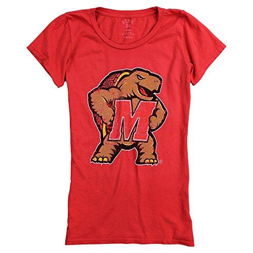 Blue 84 Women's Slim Fit NCAA 100% Cotton Super Soft Mascot Logo T-Shirt (Maryland Terpes, ()
