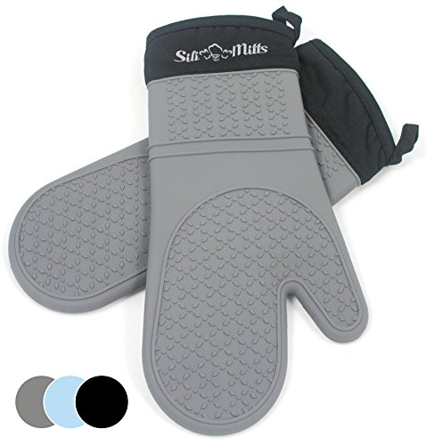 Grey Silicone Oven Hot Mitts - 1 Pair of Extra Long Professional Heat Resistant Pot Holder & Baking Gloves - Food Safe, BPA Free FDA Approved With Soft Inner (Professional Oven Mitt)